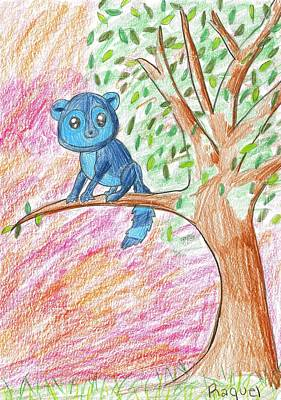 Drawing - Lemur At Home by Raquel Chaupiz