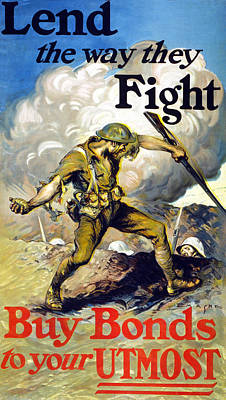 War Hero Drawing - Lend The Way They Fight, 1918 by Edmund Ashe