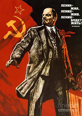 Communist Russia Drawing - Lenin Lived Lenin Lives Long Live Lenin by Viktor Semenovich Ivanov