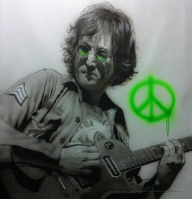 60s Painting - John Lennon - ' Lennon ' by Christian Chapman Art