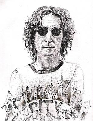 John Lennon Art Drawings Drawing - Lennon In New York by Paul Smutylo