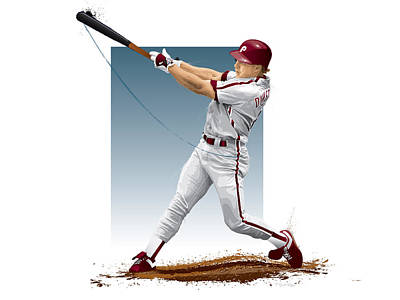 Baseball. Philadelphia Phillies Digital Art - Lenny Dykstra by Scott Weigner