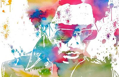 Musicians Mixed Media Rights Managed Images - Lenny Kravitz Paint Splatter Royalty-Free Image by Dan Sproul