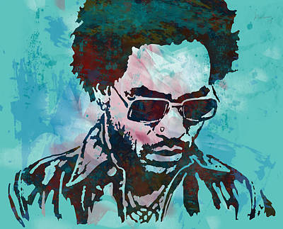 Singer Drawing - Lenny Kravitz - Stylised Etching Pop Art Poster by Kim Wang