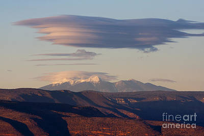 Photograph - Lenticular Cloud Hovers Over The San Francisco Peaks Of Flagstaff Arizona by Ron Chilston