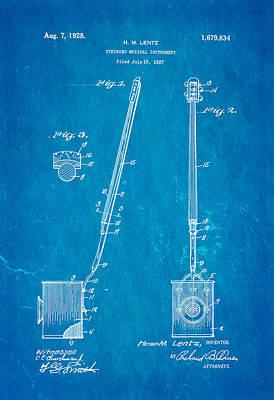 Lentz Jug Band Instrument Patent Art 1928 Blueprint Art Print by Ian Monk