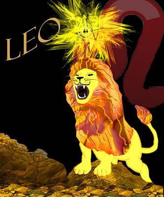 Zodiac Digital Art - Leo by Camille Lopez