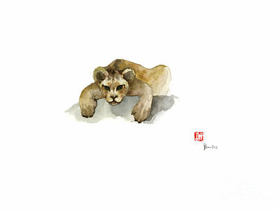 Leo King Africa Earth Animal Animals Pet Pets Forest Wild Watercolor Painting Original by Johana Szmerdt