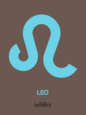 Signed Digital Art - Leo Zodiac Sign Blue by Naxart Studio