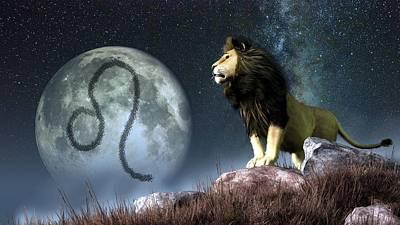 Constellation Digital Art - Leo Zodiac Symbol by Daniel Eskridge