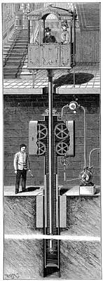 Leon Edoux's Hydraulic Passenger Lift Art Print by Universal History Archive/uig