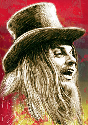 Pop Art Drawing - Leon Russell - Stylised Drawing Art Poster by Kim Wang