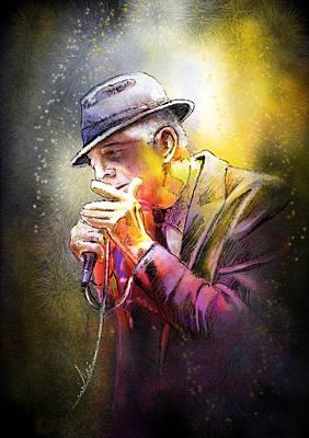 Folk Painting - Leonard Cohen 02 by Miki De Goodaboom