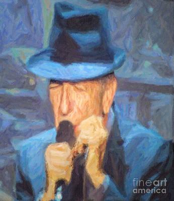 Digital Art - Leonard Cohen In Concert 2013 by Liz Leyden