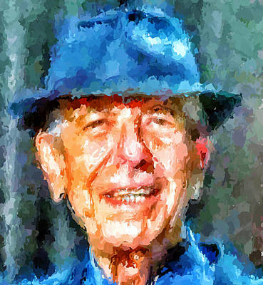 Leonard Digital Art - Leonard Cohen Portrait 2 by Yury Malkov