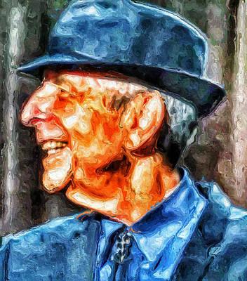 Leonard Digital Art - Leonard Cohen Portrait 3 by Yury Malkov