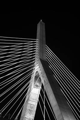 Photograph - Leonard P Zakim Bridge 2 - Bw by Joann Vitali