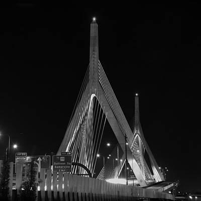 Boston Photograph - Leonard P Zakim Bridge - Bw by Joann Vitali