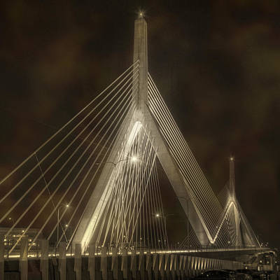 Photograph - Leonard P Zakim Bridge - Sepia by Joann Vitali