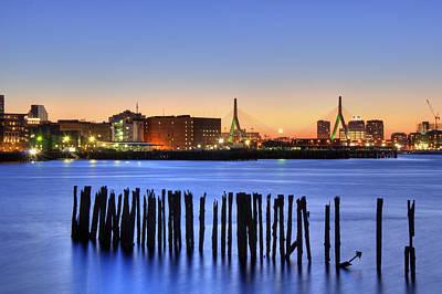 Photograph - Leonard P Zakim Bridge Skyline Sunset - Boston  by Joann Vitali