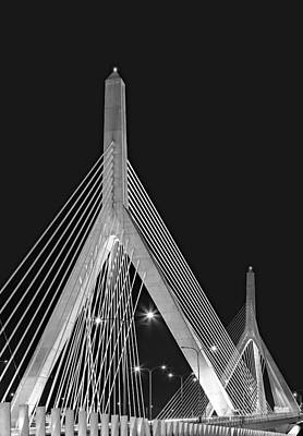 Photograph - Leonard P. Zakim Bunker Hill Memorial Bridge Bw II by Susan Candelario