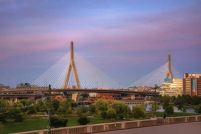 Boston Photograph - Leonard P Zakim Memorial Bridge Sunset by Joann Vitali