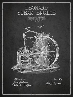 Leonard Steam Engine Patent Drawing From 1889- Dark Art Print