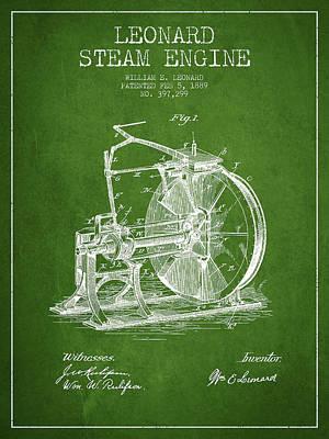 Leonard Steam Engine Patent Drawing From 1889- Green Art Print