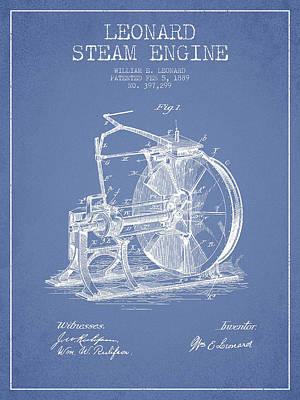 Leonard Steam Engine Patent Drawing From 1889- Light Blue Art Print