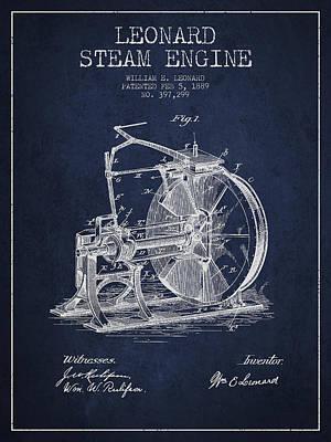 Leonard Steam Engine Patent Drawing From 1889- Navy Blue Art Print