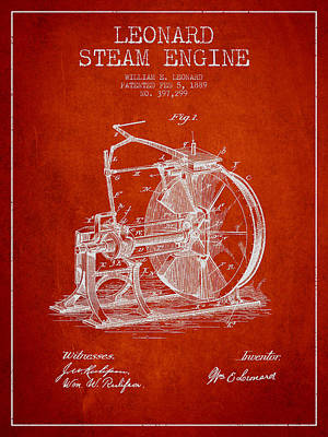 Leonard Steam Engine Patent Drawing From 1889- Red Art Print
