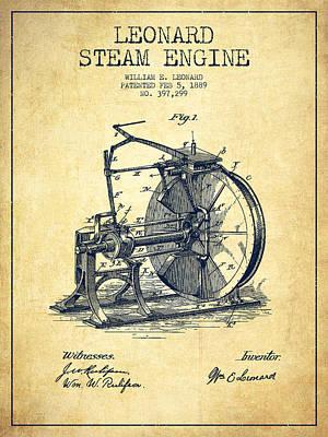 Leonard Steam Engine Patent Drawing From 1889- Vintage Art Print