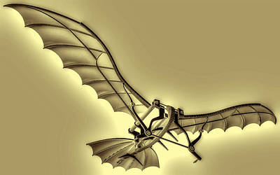 Leonardo Da Vinci Antique Flying Machine  Art Print