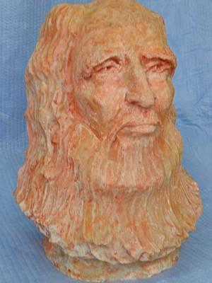Bust Of Leonardo Da Vinci Sculpture - Leonardo Da Vinci by Casey Koehler