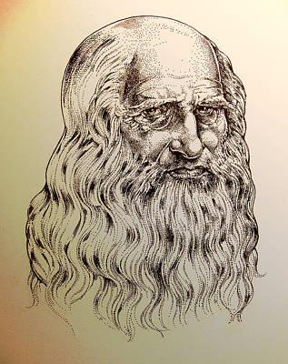 Ink Drawing Drawing - Leonardo Da Vinci by Derrick Higgins