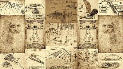 Leonardo Da Vinci Invention Sketches Poster Art Print