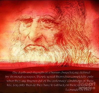 Back To Life Digital Art - Leonardo Da Vinci Quote  by Theodora Brown