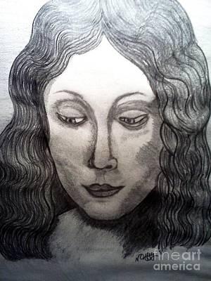 Drawing - Leonardo Di Vincis Head Of A Young Woman by Neil Stuart Coffey