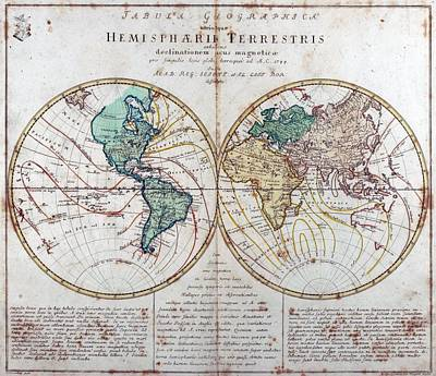 Charting Drawing - Leonhard Euler World Map 1760 Ad by L Brown