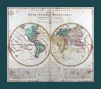 Whaling Drawing - Leonhard Euler World Map 1760 Ad With Matching Grey Aqua Small Border by L Brown