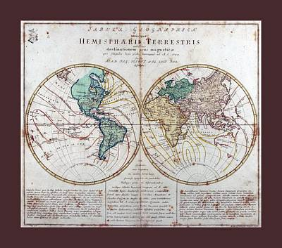 Leonhard Euler World Map 1760 Ad With Matching Grey Burgundy Small Border Art Print by L Brown