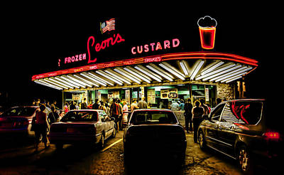 Night Digital Art - Leon's Frozen Custard by Scott Norris