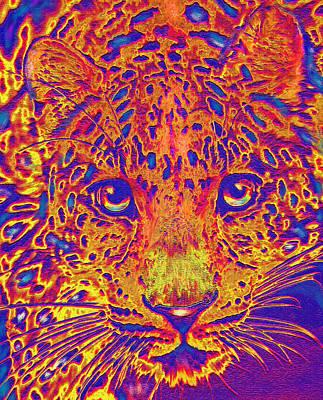 Digital Art - Leopard Eyes Orange by Jane Schnetlage