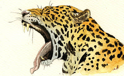Jaguar Art Painting - Leopard Head by Juan  Bosco