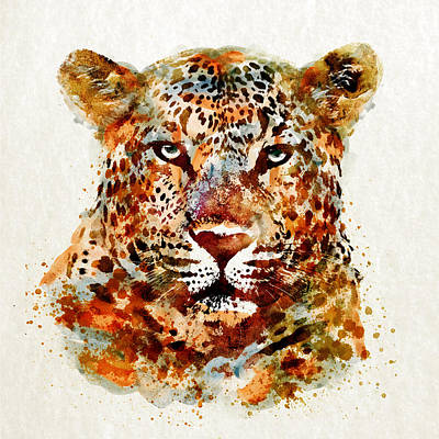 White Background Mixed Media - Leopard Head Watercolor by Marian Voicu
