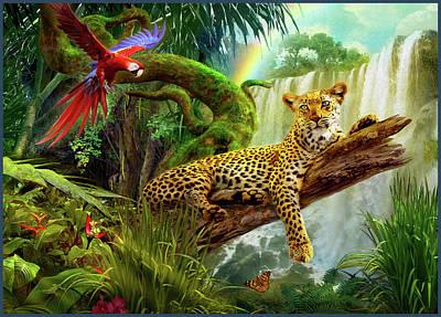 Leopard Drawing - Leopard In Tree by Jan Patrik Krasny