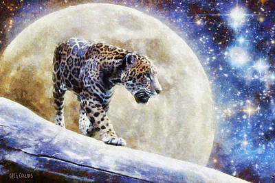 Art Print featuring the painting Leopard Moon by Greg Collins