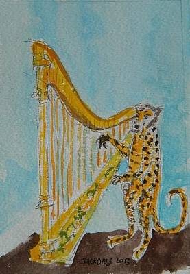 Leopard Playing Harp Original by James George