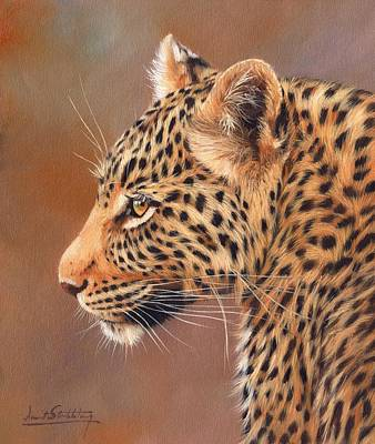 Leopard Painting - Leopard Portrait by David Stribbling