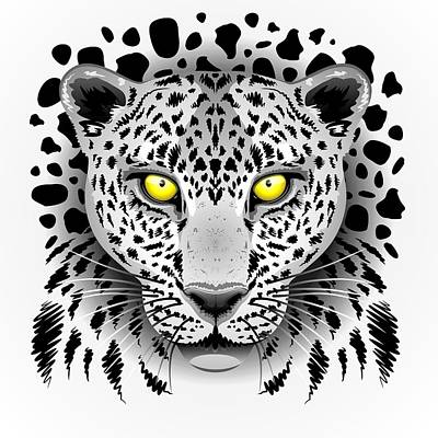 Animal Lover Digital Art - Leopard Portrait With Yellow Eyes by BluedarkArt Lem